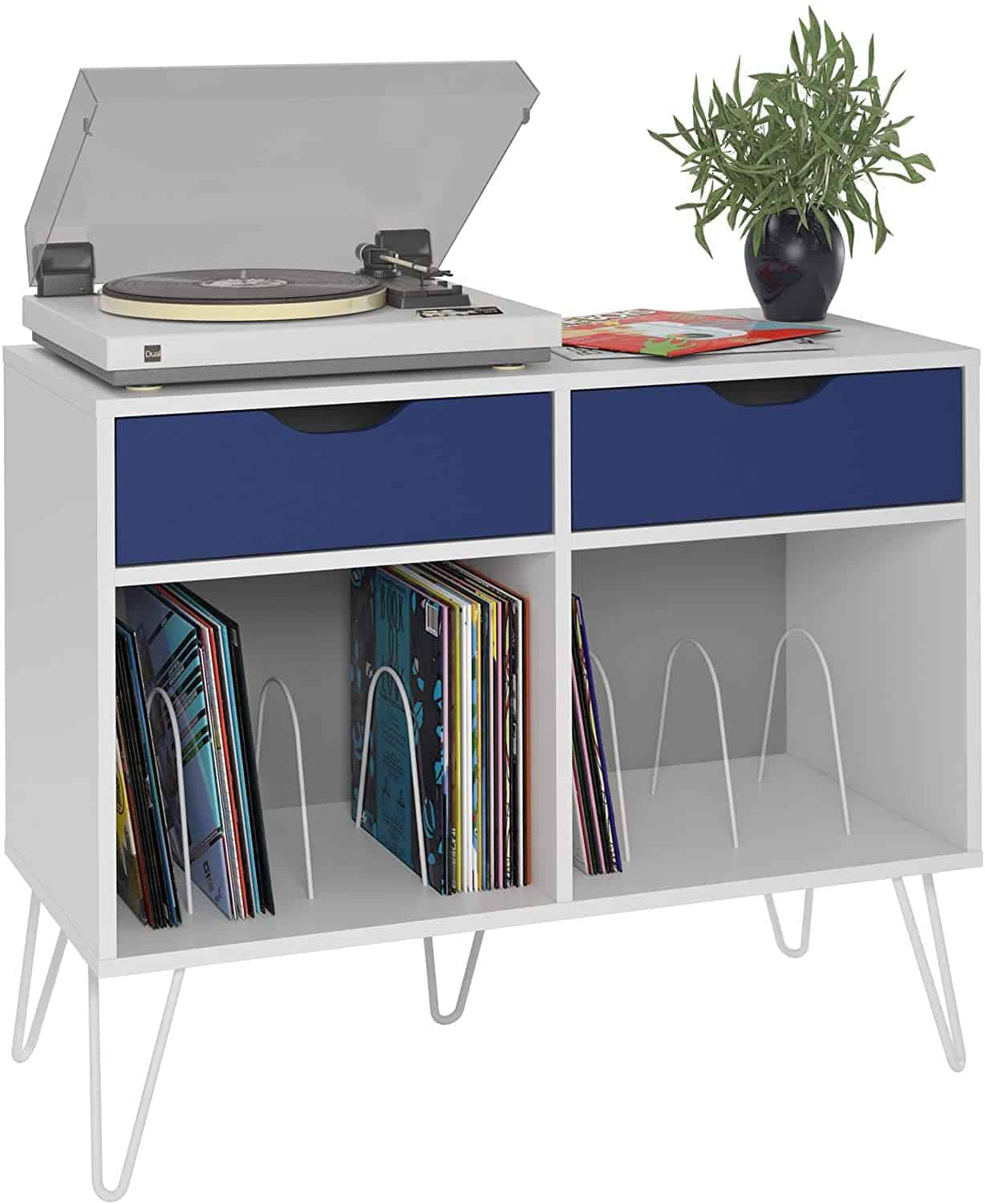 Novogratz Record Player Stand with Drawers Review (White/Blue)