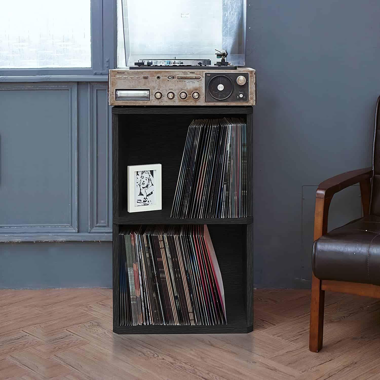 Way Basics 2-Shelf Record Player Stand